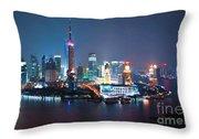 Shanghai Panorama Throw Pillow