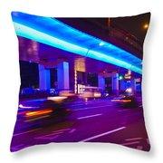 Shanghai Street At Night Throw Pillow