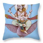 Lord Shani Riding Bird Throw Pillow