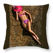 Shannon Pink Hat Throw Pillow