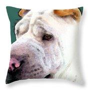 Shar Pei Art - Wrinkles Throw Pillow