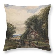 Shardlow Lock With The Lock Keepers Cottage Throw Pillow by James Orrock