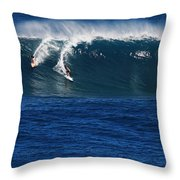 Sharing A Wave In Waimea Bay Throw Pillow