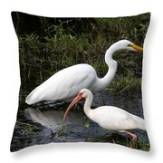 Sharing The Fishing Grounds Throw Pillow