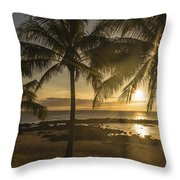 Sharks Cove Sunset 2 - Oahu Hawaii Throw Pillow
