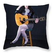 Sharon With Guitar Throw Pillow
