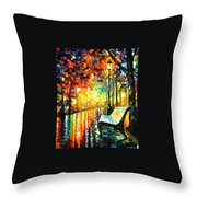She Left... - Palette Knife Oil Painting On Canvas By Leonid Afremov Throw Pillow