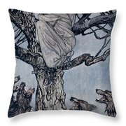 She Looked With Angry Woe At The Straining And Snarling Horde Below Illustration From Irish Fairy  Throw Pillow