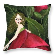 She Stole A Peony To Wear Throw Pillow