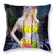 She Wore An Itsy Bitsy Teenie Weenie Throw Pillow