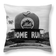 Shea Stadium Home Run Apple In Black And White Throw Pillow