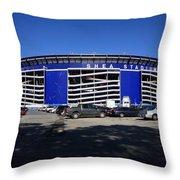 Shea Stadium - New York Mets Throw Pillow by Frank Romeo