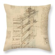 Shearing Machine With Detailed Captions Explaining Its Working From Atlantic Codex Throw Pillow