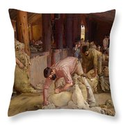 Shearing The Rams  Throw Pillow