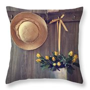 Shed Door Throw Pillow by Amanda Elwell