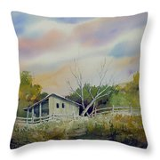 Shed With A Rail Fence Throw Pillow