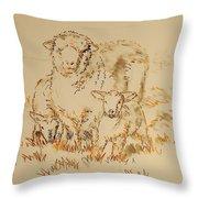 Sheep And Lambs Throw Pillow