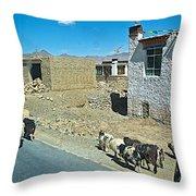 Sheep And Shepherd Along The Road To Shigatse-tibet Throw Pillow
