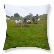 Sheep And Stones At Avebury Throw Pillow