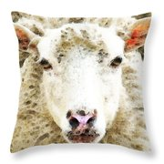 Sheep Art - White Sheep Throw Pillow