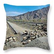 Sheep Crossing The Road To Shigatse-tibet  Throw Pillow