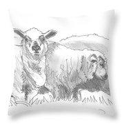 Sheep Drawing Throw Pillow