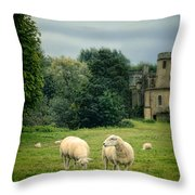 Sheep Grazing By Castle Throw Pillow