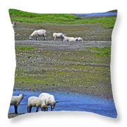 Sheep In Branch-nl Throw Pillow