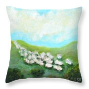 Sheep On The Move Throw Pillow