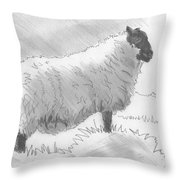 Sheep Sketch Throw Pillow