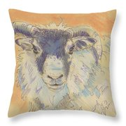 Sheep With Horns Throw Pillow