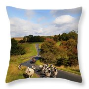 Sheep With Shepherd On A Quad Bike Throw Pillow