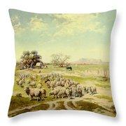 Sheepherding Montana Throw Pillow