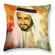Sheikh Rashid Bin Saeed Al Maktoum Throw Pillow by Corporate Art Task Force