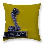 Shelby Gt350 Emblem On Yellow Throw Pillow