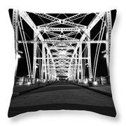 Shelby Street Bridge At Night In Nashville Throw Pillow