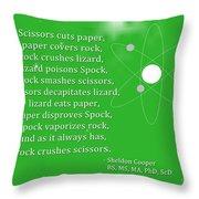 Sheldon Cooper - Rock Paper Scissors Lizard And Spock Throw Pillow