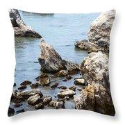 Shell Beach Rocky Coastline Throw Pillow