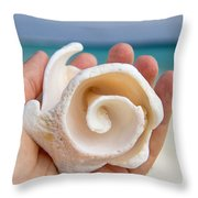 Shell In Hand Cozumel Throw Pillow