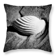 Shell On Sand Black And White Photo Throw Pillow by Raimond Klavins