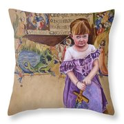 She'll Slay Her Own Dragons Throw Pillow