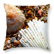 Shells On Sand Throw Pillow by Riad Belhimer