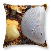 Shells On Sand2 Throw Pillow by Riad Belhimer