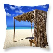 Shelter On A White Sandy Caribbean Beach With A Blue Sky And White Clouds Throw Pillow