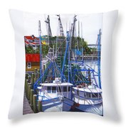 Shem Creek Shrimp Boats Throw Pillow