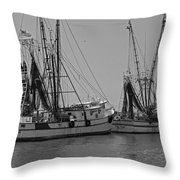 Shem Creek Shrimpers - Black And White Throw Pillow by Suzanne Gaff