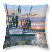 Shem Creek Shrimpers Charleston  Throw Pillow by Richard Harpum