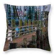 Shem Creek Wharf Throw Pillow
