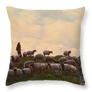 Shepherd With Sheep Standard Size Throw Pillow