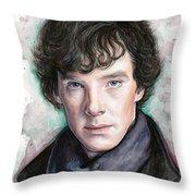 Sherlock Holmes Portrait Benedict Cumberbatch Throw Pillow by Olga Shvartsur